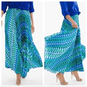 Chico's pleated long maxi skirt blue NEW